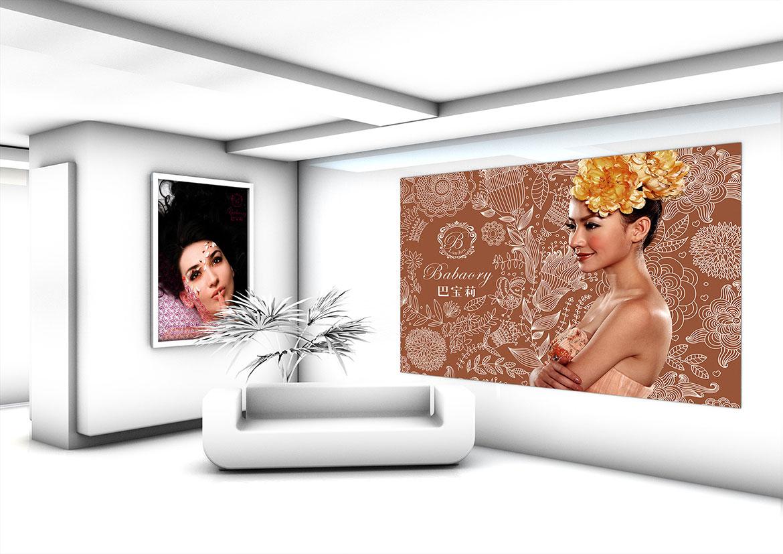 巴宝莉美容SPA会所店内墙面装饰画设计